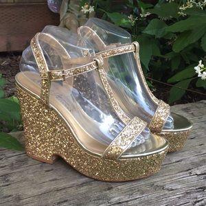 Badgley Mischka Gold Glitter Platform Wedge Heels
